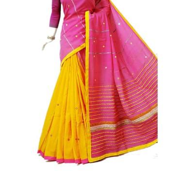 Bengal Art work Pink Cotton Khes Mirror Worked Saree
