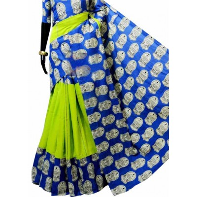 Bengal Art work Green Khes Kathakali Printed Saree