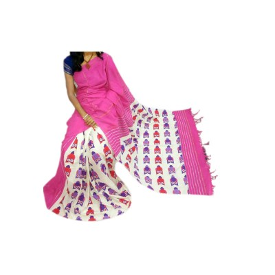 Bengal Art work Pink Cotton Khes Gurjari Saree