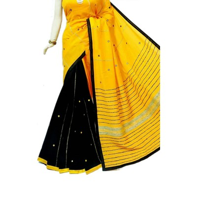 Bengal Art work Yellow Cotton Khes Mirror Worked Saree