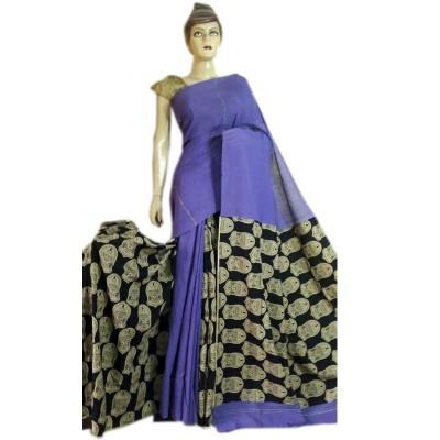 Bengal Art work Violet Cotton Khes Gurjari Saree