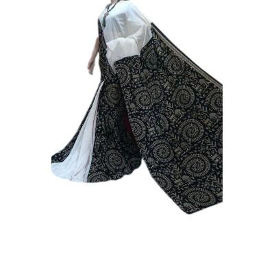 Bengal Art work Black & White Cotton Khes Gurjari Saree