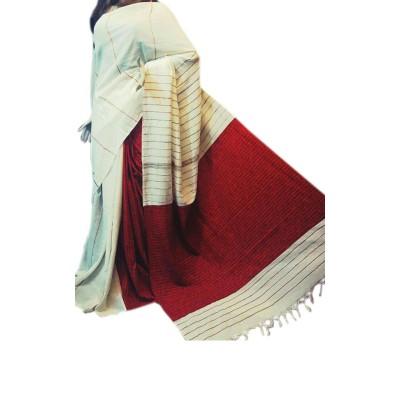Bengal Art work White & Maroon Cotton Khes Gurjari Saree