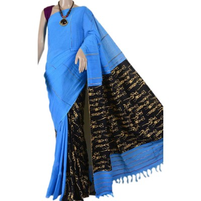 Bengal Art work Blue Cotton Khes Gurjari Saree