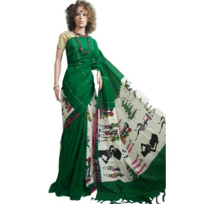 Bengal Art work Green Cotton Khes Gurjari Saree