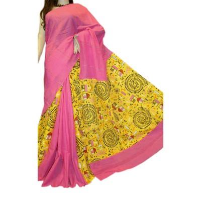 Bengal Art work Pink Cotton Khes Gurjari Saree