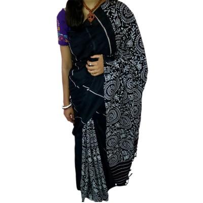 Bengal Art work Black Cotton Khes Gurjari Saree
