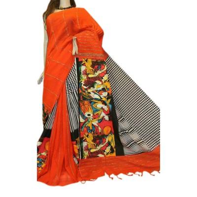 Bengal Art work Orange Cotton Khes Gurjari Saree