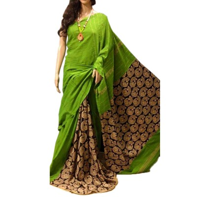 Bengal Art work Green Cotton Khes Gurjari Saree