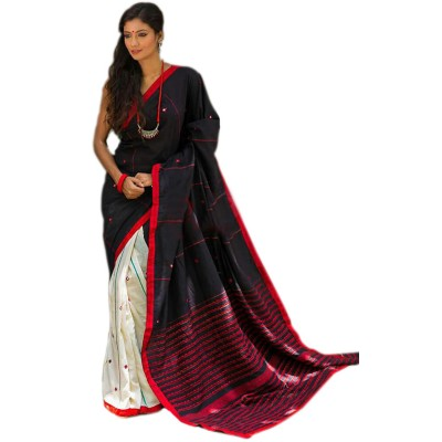 Bengal Art work Black Cotton Khes Mirror Worked Saree