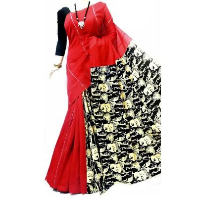 Bengal Art work Red Cotton Khes Gurjari Saree