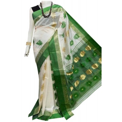 Bengal Art work Green Semi Tussar Silk Floral Jamdani Work Saree
