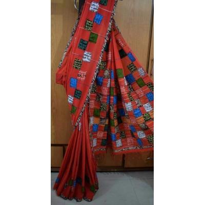 Bengal Art work Red Cotton Khes Applique Baul Saree