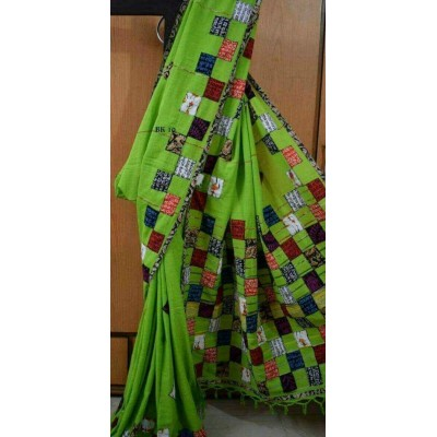 Bengal Art work Green Cotton Khes Applique Baul Saree