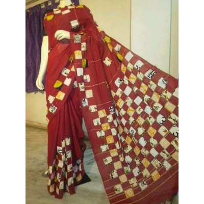 Bengal Art work Maroon Cotton Khes Applique Baul Saree