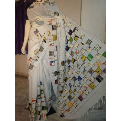 Bengal Art work Off White Cotton Khes Applique Baul Saree