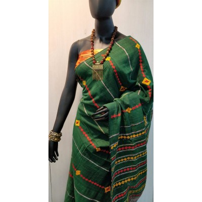 Bengal Art work Green Khes Embroidered Saree