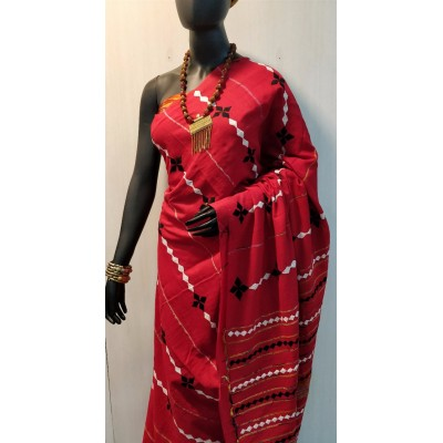 Bengal Art work Red Khes Embroidered Saree