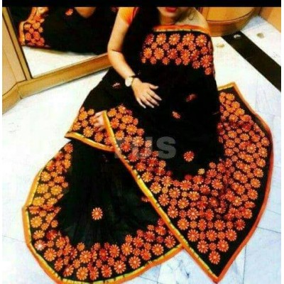 Bengal Art work Black Bangladesh Tant Kachi Stitched Saree