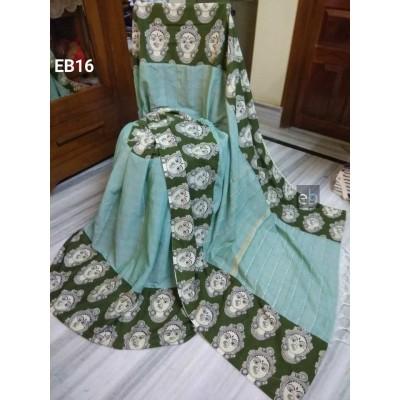 Bengal Art work Light Green Khes Durga Printed Saree