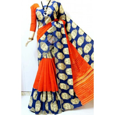 Bengal Art work Orange Khes Buddha Printed Saree