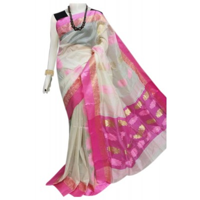 Bengal Art work Pink Semi Tussar Silk Floral Jamdani Work Saree