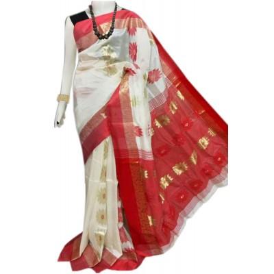 Bengal Art work Red Semi Tussar Silk Floral Jamdani Work Saree