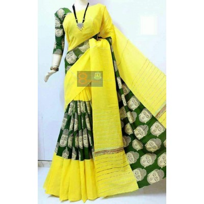 Bengal Art work Yellow Khes Buddha Printed Saree