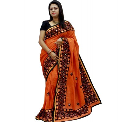 Bengal Art work Orange Bangladesh Tant Kachi Stitched Saree