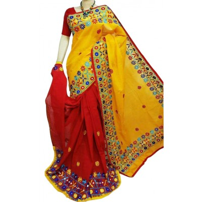 Bengal Art work Yellow Bangladesh Tant Kachi Stitched Saree