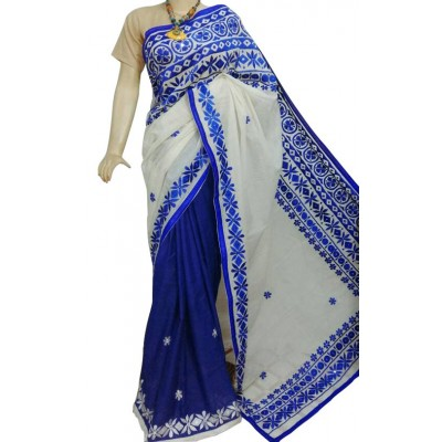 Bengal Art work Blue Bangladesh Tant Saree