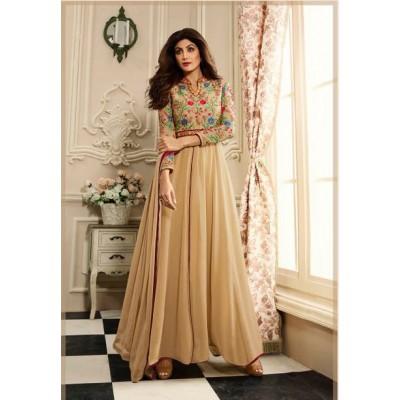 Online Fashion Bazaar Beige Georgette Embroidered Semi -Stitched Anarkali Dress Material