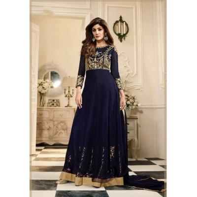 Online Fashion Bazaar Navy Blue Net Semi -Stitched Anarkali Dress Material