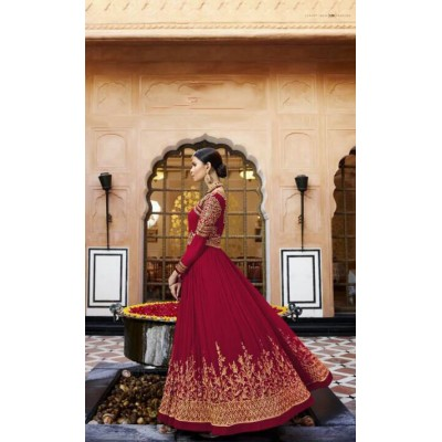 Online Fashion Bazaar Maroon Georgette Semi-Stitched Dress Material