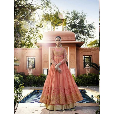 Online Fashion Bazaar Peach Georgette Semi-Stitched Lehenga Choli