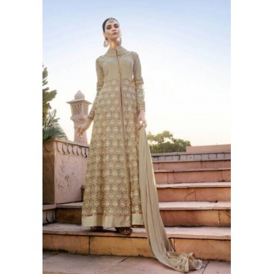 Online Fashion Bazaar Beige Georgette Semi-Stitched Dress Material