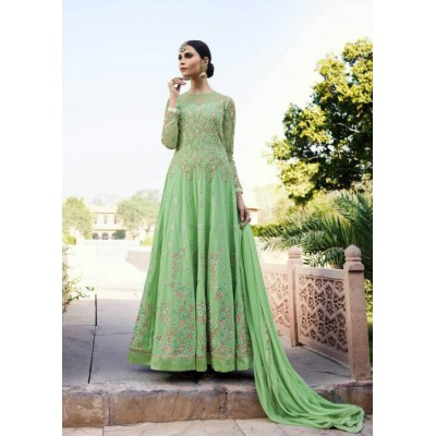 Online Fashion Bazaar Green Georgette Semi-Stitched Dress Material