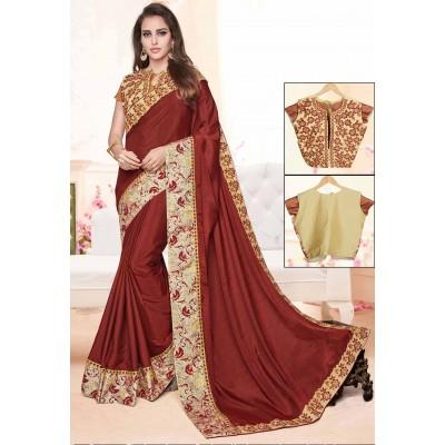 Online Fashion Bazaar Brown Two Tone Silk Embroidered Saree