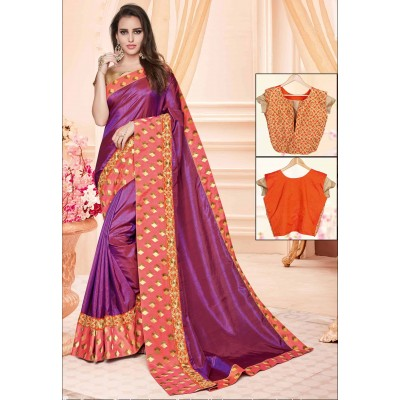 Online Fashion Bazaar Violet Two Tone Silk Embroidered Saree