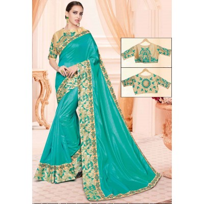 Online Fashion Bazaar Sea Green Two Tone Silk Embroidered Saree