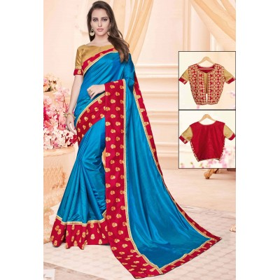 Online Fashion Bazaar Cobalt Blue Two Tone Silk Embroidered Saree