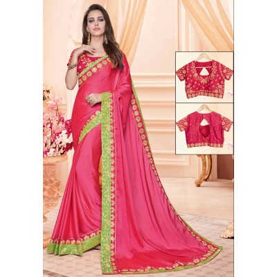 Online Fashion Bazaar Pink Two Tone Silk Embroidered Saree