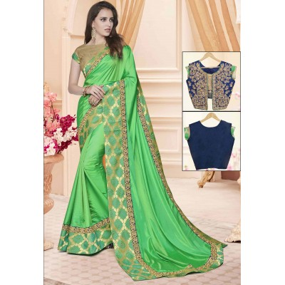 Online Fashion Bazaar Green Two Tone Silk Embroidered Saree