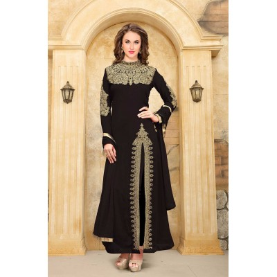 Online Fashion Bazaar Black Faux Georgette Semi-Stitched Dress Material