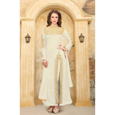 Online Fashion Bazaar Off White Faux Georgette Semi-Stitched Dress Material