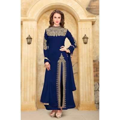 Online Fashion Bazaar Navy Blue Faux Georgette Semi-Stitched Dress Material