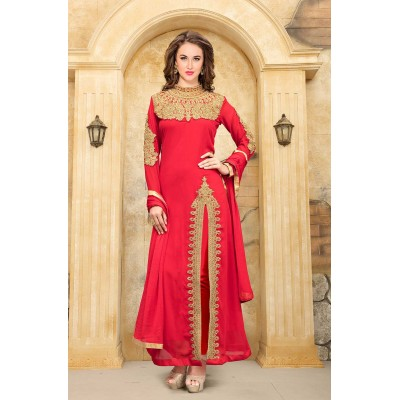 Online Fashion Bazaar Red Faux Georgette Semi-Stitched Dress Material
