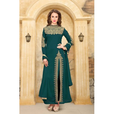 Online Fashion Bazaar Dark Green Faux Georgette Semi-Stitched Dress Material