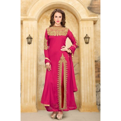 Online Fashion Bazaar Pink Faux Georgette Semi-Stitched Dress Material