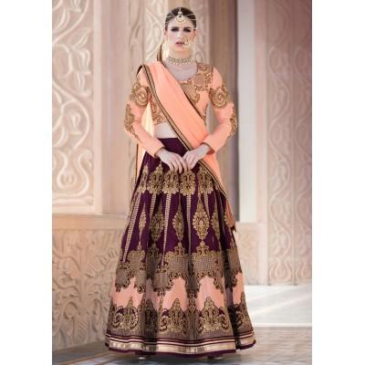 Online Fashion Bazaar Peach Bangalori Silk Embroidered Semi-Stitched Lehenga Choli